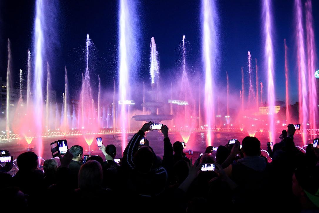 Multimedia Show Transforms Downtown Bucharest Fountains