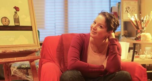 Smaranda in her studio, January 2016